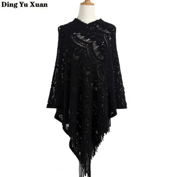 2020 Spring Asymmetric Style Crochet Poncho Fashion Jumper Hollow Out Cloak Sweater Women Knit Pullover with Tassel Cape Femme клава 2019 11 30t19 00