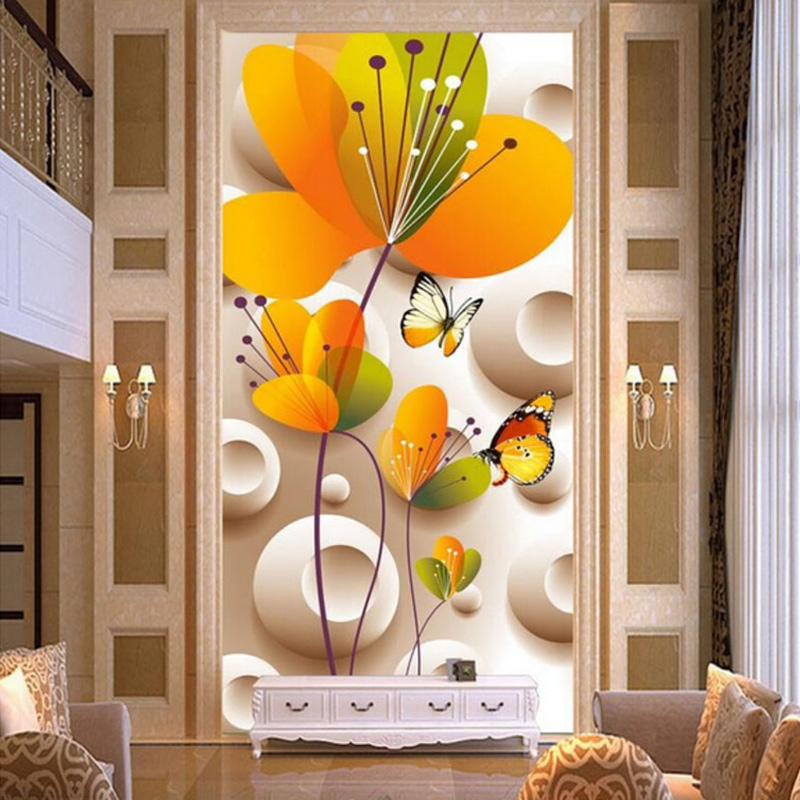 Papel tapiz fotográfico 3D relieve estéreo flores amarillas mural De mariposa Entrada De Hotel telón De fondo decoración De pared Papel De Parede