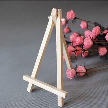 Naturalne drewno Mini sztaluga rama statyw wyświetlacz spotkanie stół weselny numer etykieta z imieniem stojak uchwyt dzieci obraz rzemiosło 15*8cm tanie i dobre opinie CN (pochodzenie) Mini Wooden Easel