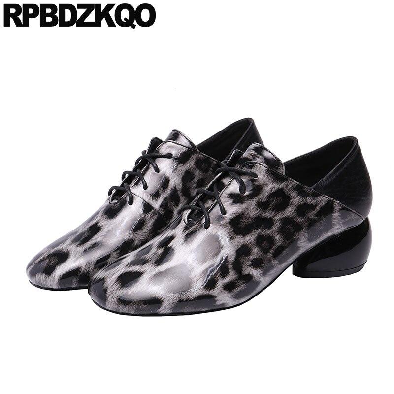 lace up chunky korean square toe block yellow pumps medium heels designer ladies thick high cheetah 2019 leopard shoes women new