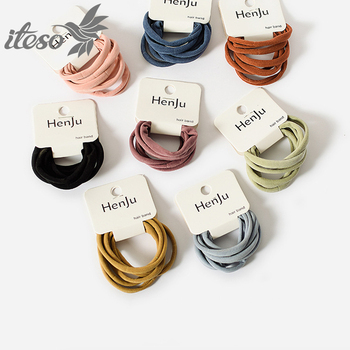 ITESO 6Pcs Women Girls Simple Basic Elastic Hair Bands Scrunchie Ponytail Holder Rubber Bands Fashion Headband Hair Accessories iteso 2020 new crystal women hair ties girls elastic hair bands ponytail holder scrunchie rubber bands lady hair accessories