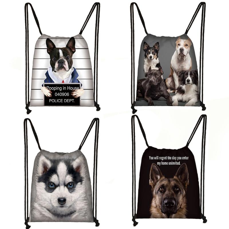 French Bulldog /  German Shepherd / Golden Retriever Dog Print Drawstring Bag Women Travel Bags Men Backpack Storage Bag