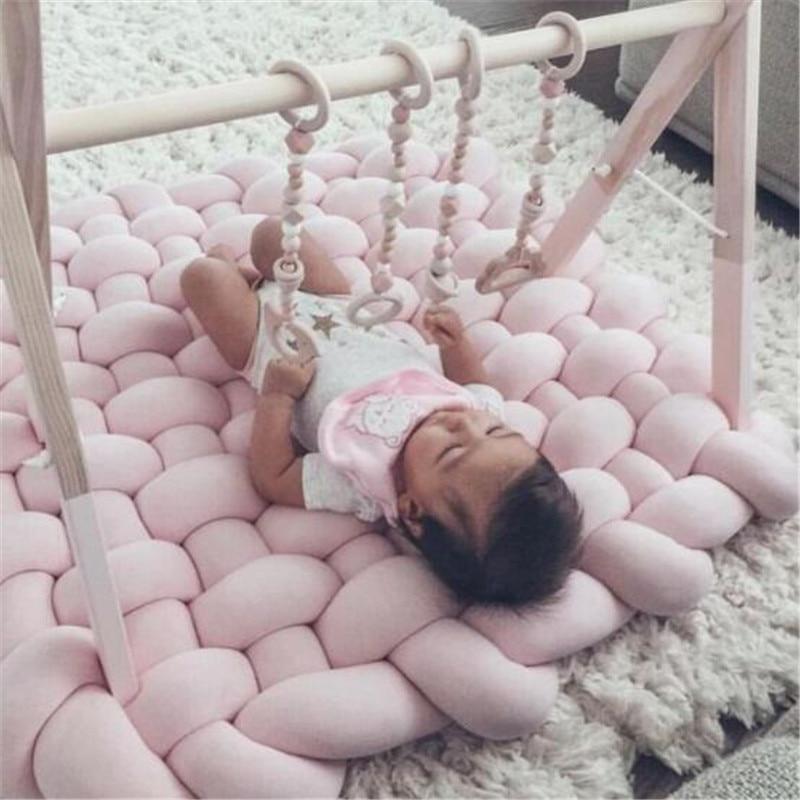 Bébé tapis de jeu jouets pour enfants INS tresse bande tissage noué enfants tapis Puzzle ramper Gym Pad enfants tapis chambre décor 85x70cm - 2