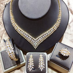 Tirim Luxe Vrouwen Ketting Sieraden Set Aaa Cz Cubic Zirkoon Dubai Klassieke Elegante Stijl Charm Bridal Accessoires Nieuwkomers