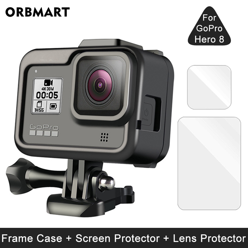 Frame Case For GoPro Hero 8 Black Screen Protector Tempered Glass Protective Lens Film Cover Mount For Go Pro 8 Accessories