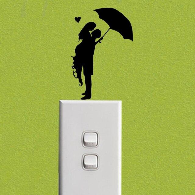 Romance Kiss Umbrella Rain Girl Fashion Vinyl Wall Decal Switch Sticker 6SS0053 4