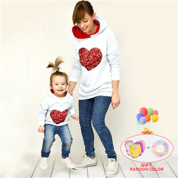 Fashion Family Matching Spring Autumn Hoodies Mother Daughter Sweatshirt Cotton Mom and Clothes Outfits