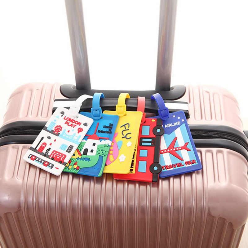 トラベルアクセサリー ID カード収納ポケットシリコーン搭乗券カバーバッグスーツケースぶら下げ識別子ラベルアドレスホルダータグ