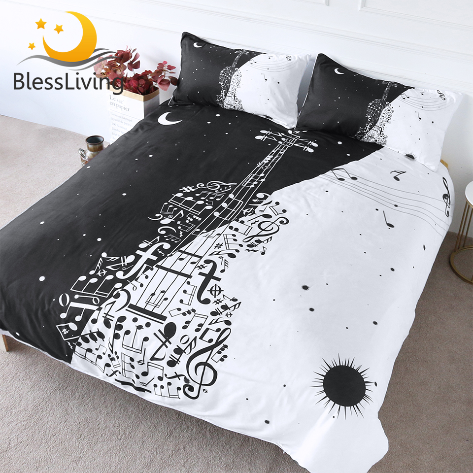 BlessLiving Guitar Bedding Set Musical Notes Comforter Cover Day And Night Bedspreads Stars Black White Bed Set Queen 3-Piece