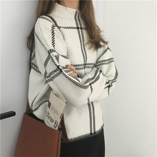 2019 Autumn And Winter New High Collar Plaid Sweater Casual Fashion Ladies