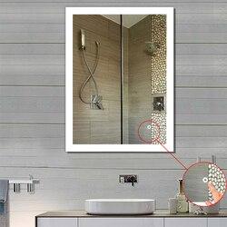 LED الحمام مرآة ذكية جدار ديكور مرآة حمام الحمام المرحاض مكافحة الضباب مرآة مع شاشة تعمل باللمس ماتي ضوء سطح HWC