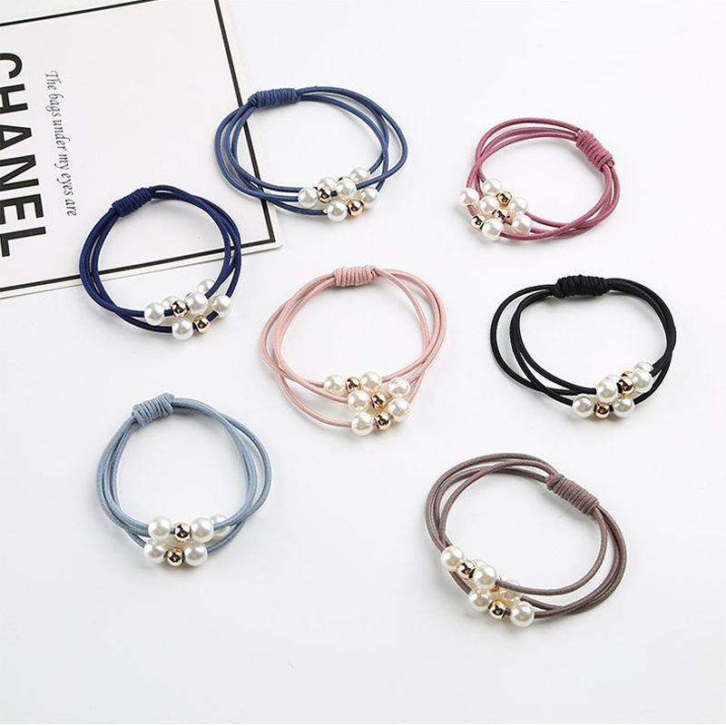 7Pcs/Lot Women Mixed Color Pearl Hair Band Basic High Elastic Rubber Band Simple Ponytail Holder Scrunchies Headband Accessories