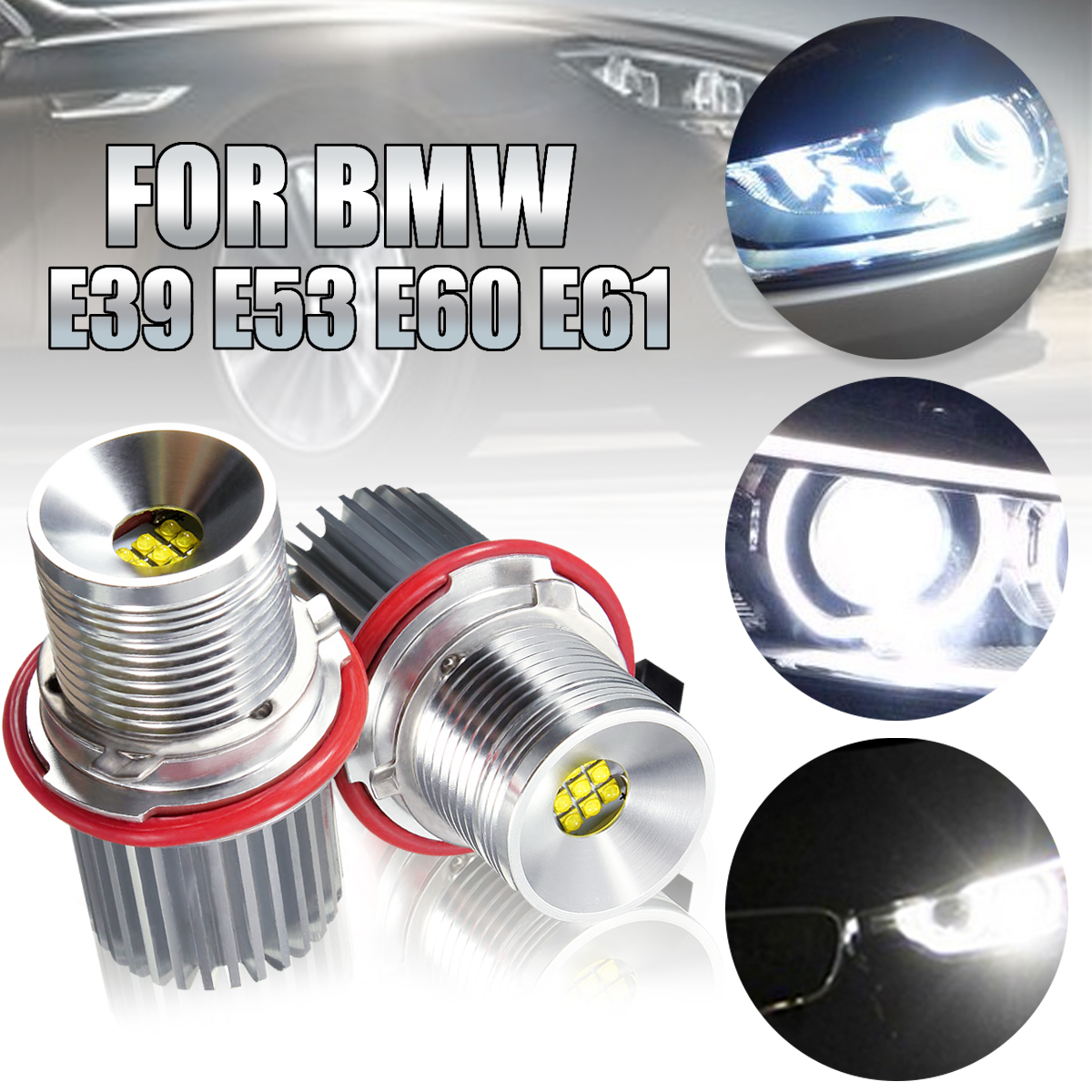2X 45w White Angle Eyes LED Marker HALO Ring Light Bulb For BMW E39 E53 E60 E61 Super Bright Led Energy Save