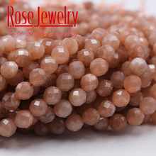AAAAA Quality Natural Faceted Sunstone Quartz Peach Round Loose Beads 4 6 8 10 12 MM