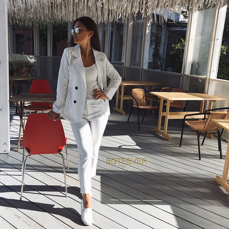 Work Pant Suits OL 2 Piece Sets Double Breasted Striped Blazer Jacket amp Zipper Trousers Suit For Women Set Feminino Spring in Pant Suits from Women 39 s Clothing