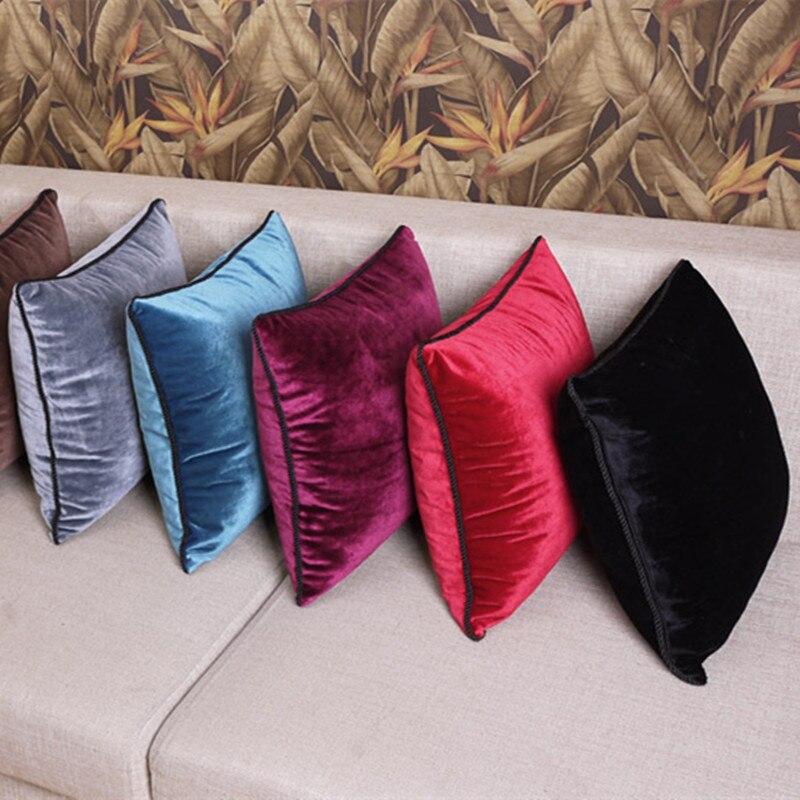 Reine farbe schwarz samt kissen abdeckung weiche samt kissen abdeckung kissen fall velhigh qualität plain covers kostenloser versand