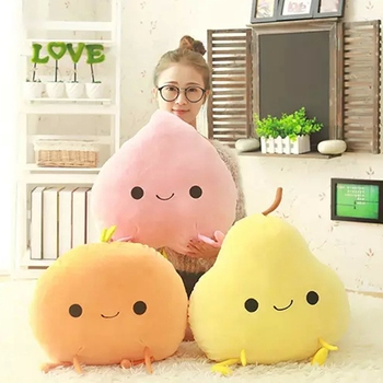 Cuddly Fruits Plush Toy Smile Stuffed Plants Mango Orange Peach Pear Vegetables Decor Props Kids Nursing Pillow High Quality цена 2017