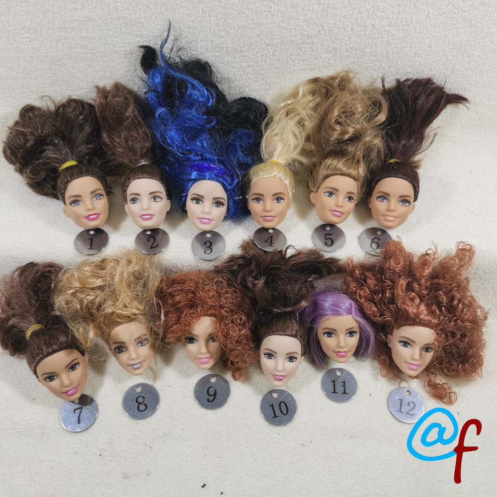 B666-1 Original Foreign Trade West Asia Dimples Beauty 1/6 OOAK NUDE Doll Head Mussed MIXED Hair For DIY