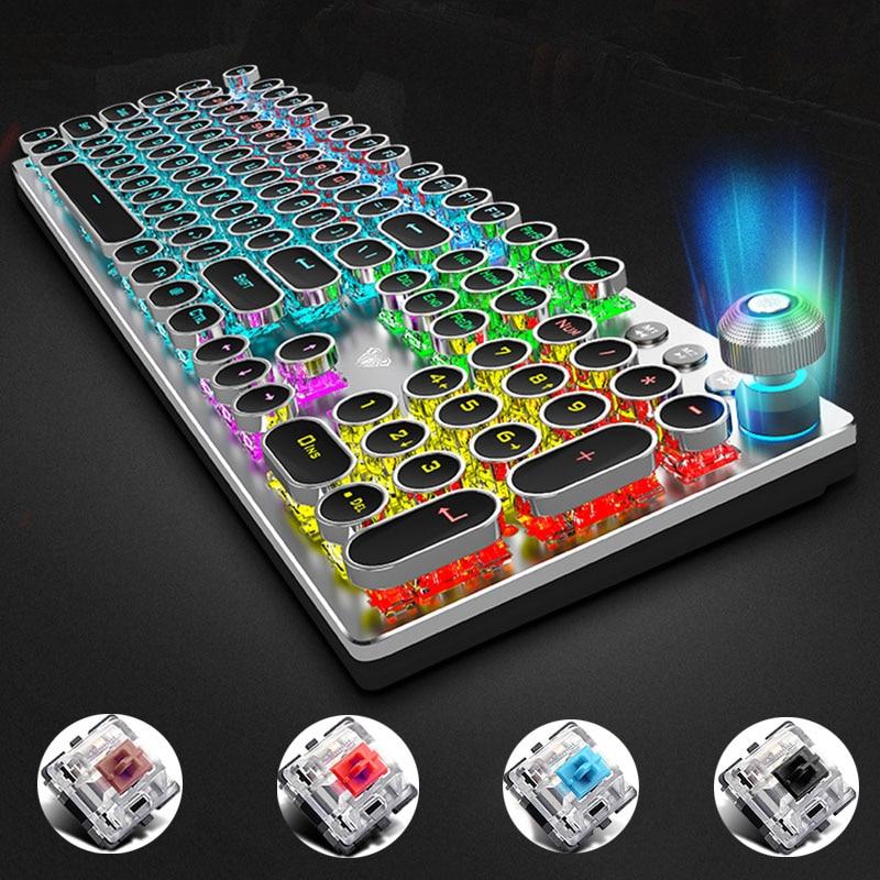 AULA Rotating Macro Backlit Mechanical Keyboard Vintage Blue Red Switch 104 Keys LED Computer Gamer Steampunk Gaming Keyboards