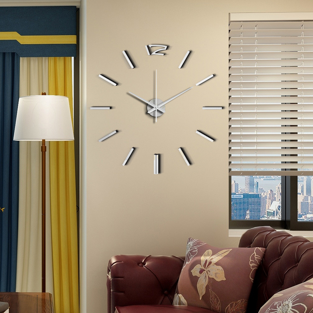 50cm 3D Wall Clock Modern Design DIY Acrylic Mirror Stickers Clock for Living Room Bedroom Home Decor Large Silent Elreloj Mural 2