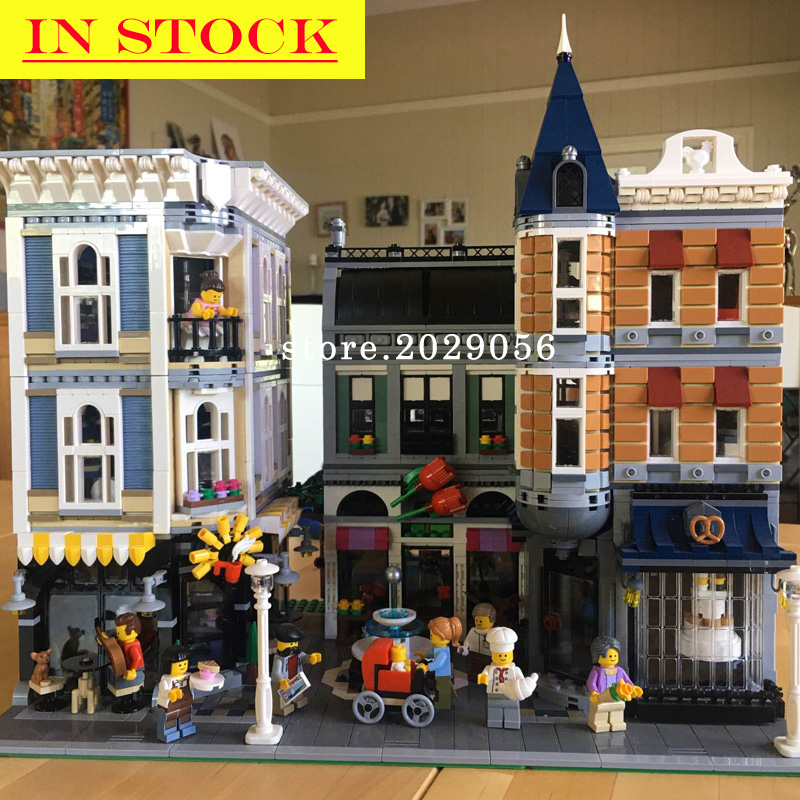 In Stock Street View Creator Series 15019 Assembly Square Romantic Restaurant Building Blocks 4122pcs Compatible With 10255