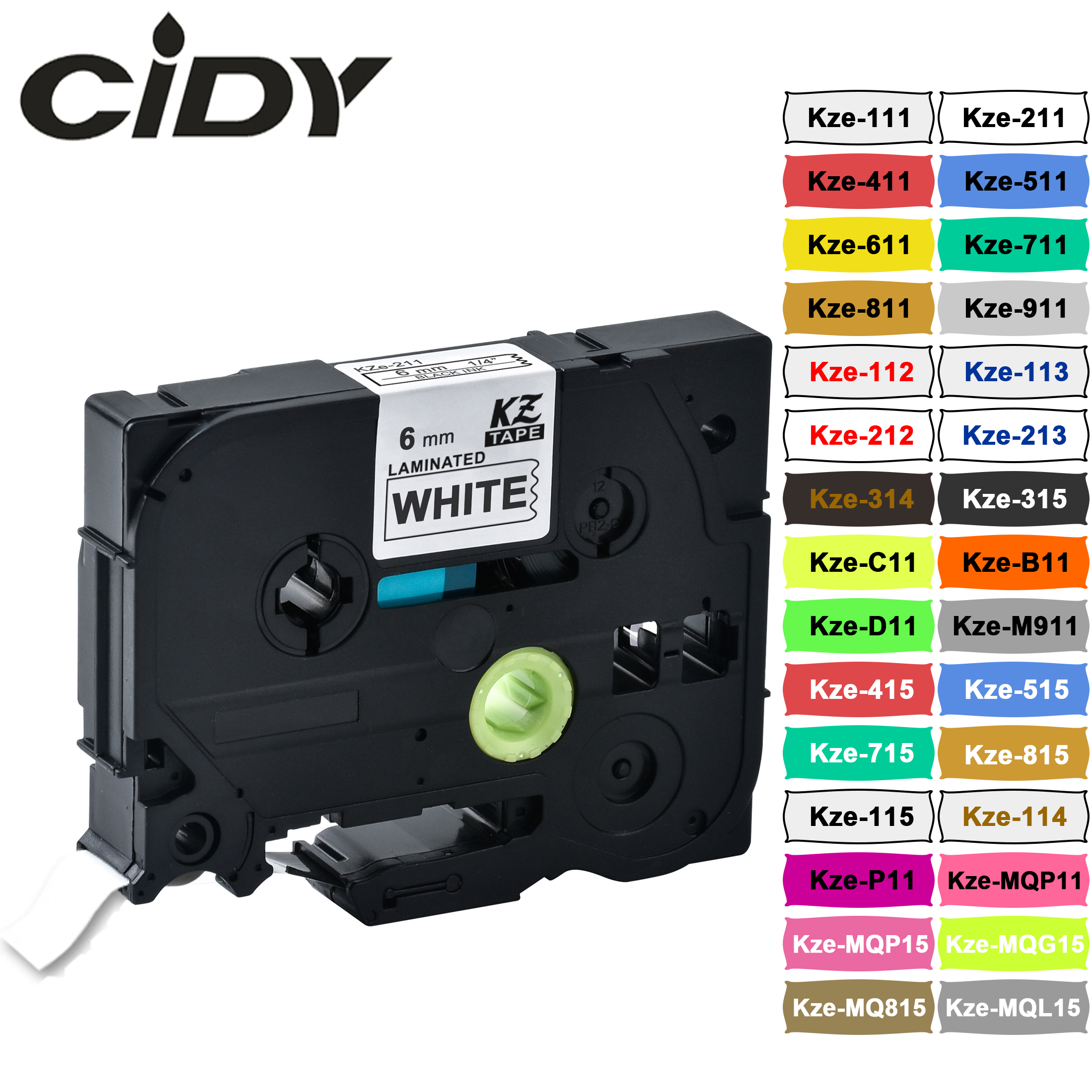 CIDY 6mm Tze-211 Compatible Laminated Tze 211 Tze211 Black On White Label Tape Tz-211 For Brother P-touch Printer Tze-111