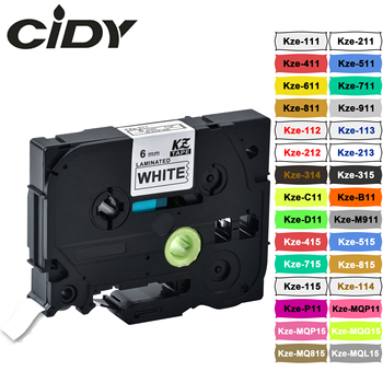 CIDY 6mm tze-211 Compatible laminated tze 211 tze211 Black on white Label Tape tz-211 for brother p-touch printer tze-111 transverse impact on viscoelastic laminated plates
