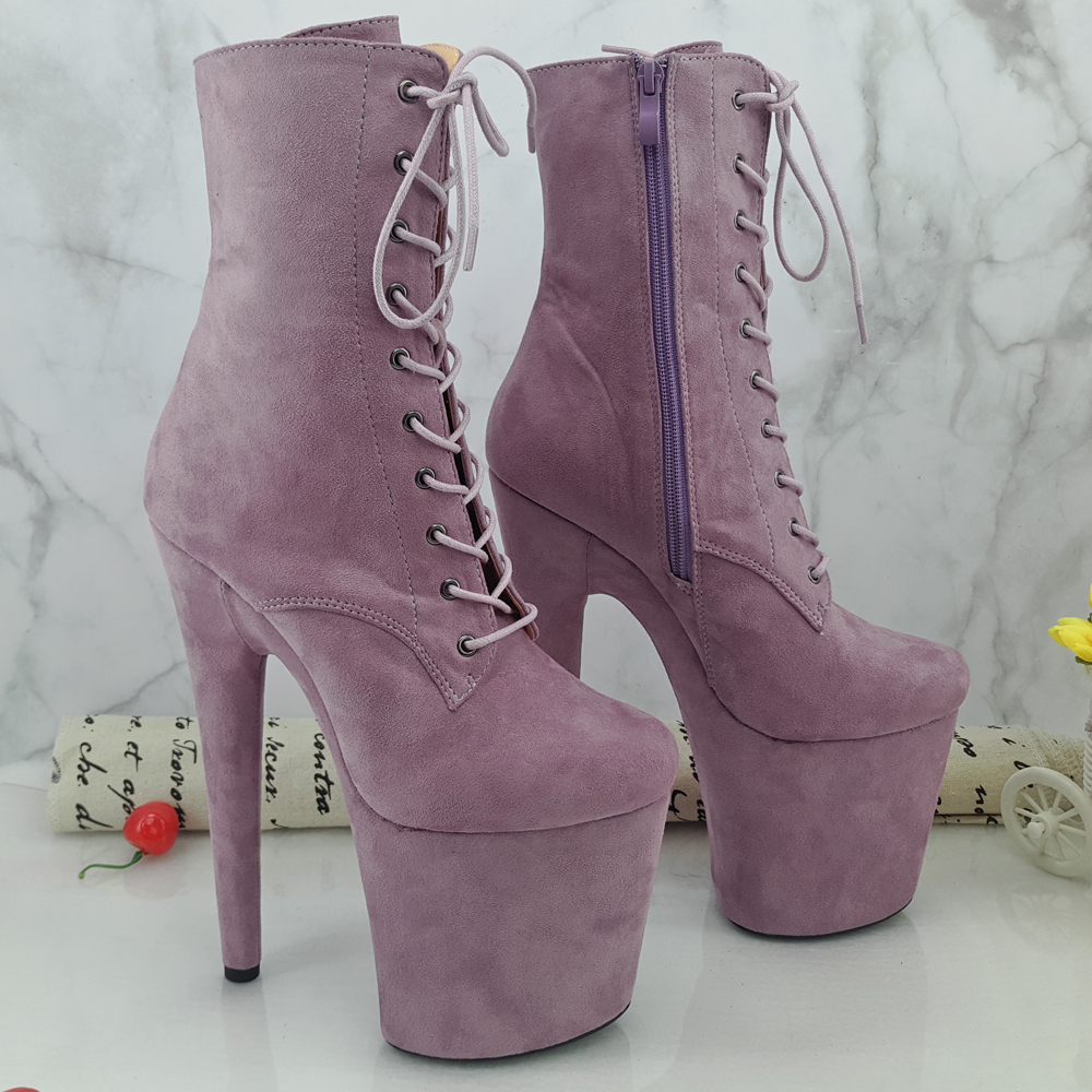 Leecabe 20CM Pole Dancing Shoes Purple Suede Covered High Heel Platform Boots Closed Toe Pole Dancie Boot