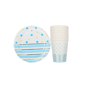 Image 5 - 20ピース/セットカラフルなストライプ紙コップ & 皿結婚式誕生日装飾ベビーシャワーフェスティバル子供食器パーティー用品