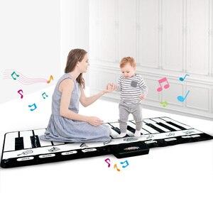 Электронный музыкальный коврик для пианино с клавиатурой, детский коврик для ползания, игровой коврик, развивающий музыкальный инструмент,...