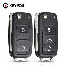 Keyyou remoto caso chave escudo para vw volkswagen skoda octavia golf mk6 tiguan polo passat cc substituição do assento 2/3 botões