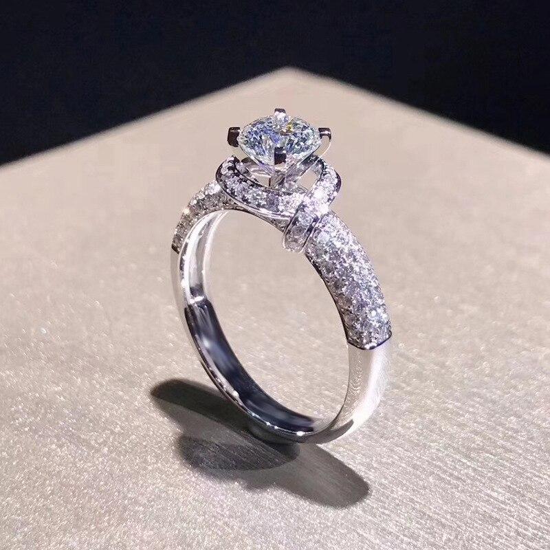 Silver Color 925 Jewelry VVS1 Diamond Ring For Women 2carats Flower Luxury Diamond Bizuteria Gemstone Anillos De Engagement Ring
