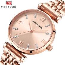 MINI FOCUS นาฬิกาผู้หญิงแบรนด์หรูเพชรสุภาพสตรีนาฬิกาควอตซ์หญิงนาฬิกาข้อมือนาฬิกากันน้ำ Relogio Feminino