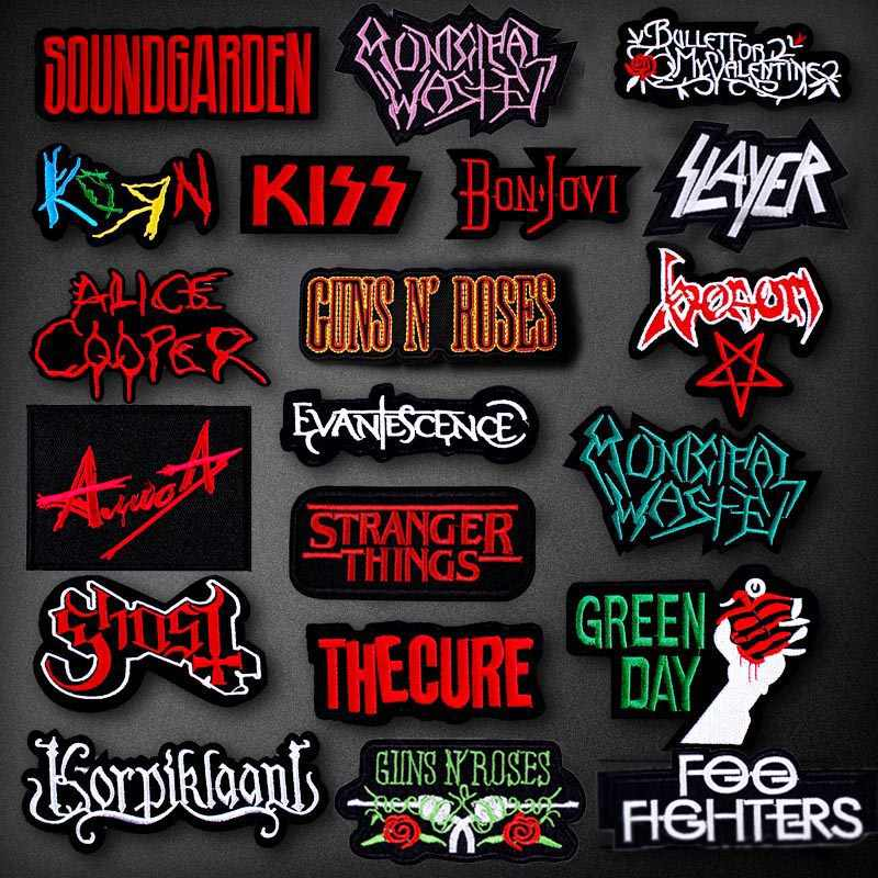Stripes Metal Rock Band Patches For Clothing  Embroidered Bands Applique Letter