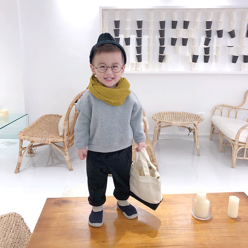 Autumn and winter Korean children plain pullover baby plush boys long sleeve tops boy clothes for big kids Fashion