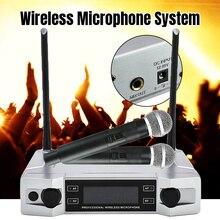 Hoge Kwaliteit UHF Draadloze Karaoke Microfoon Systeem LCD Display met Dual Handheld Microfoon voor Party KTV Nieuwe