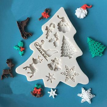 Silicone Christmas Tree Santa Claus Elk Sled Stick Chocolate Moulds bakeware Mold Accessories Kitchen Baking Cookies Cake t P1I0 image