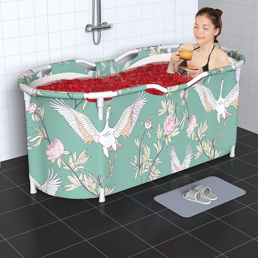 CN Vasca da bagno pieghevole in stile nordico portatile impermeabile addensato famiglia per adulti Spa vasche da bagno secchio