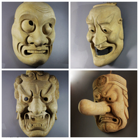 Japanese Wooden Noh Mask Warrior Traditional Craft Ghost Female Room Decorative Wall Hanging Personality Home Decor