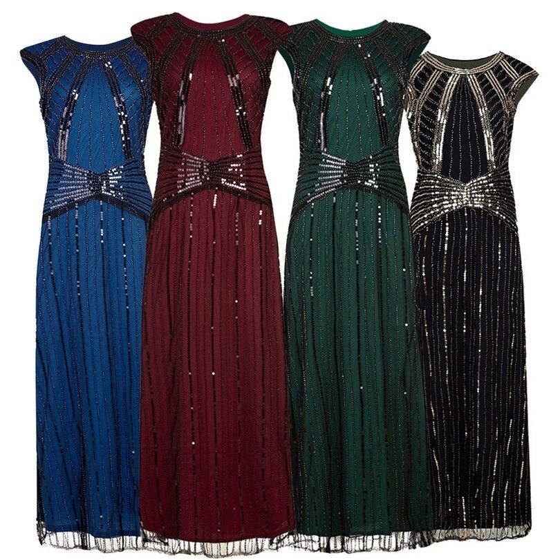 Feminino vintage 1920s frisado malha retalhos longo gatsby flapper vestido o pescoço sexy lantejoulas vestido de festa vestidos longos de verao