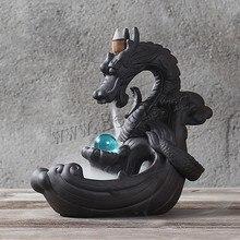 Incense-Burner Backflow Smoke-Waterfall Lucky-Crystal-Ball Ceramic Dragon Home-Decor