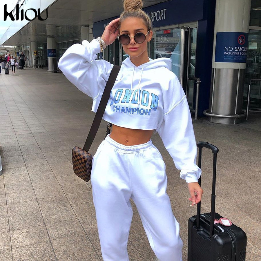 Kliou Women White Sweatshirts Long Sleeve Drawstring Hooded Crop Top Letter Print 2019 Autumn Female Fashion Casual Hoodies