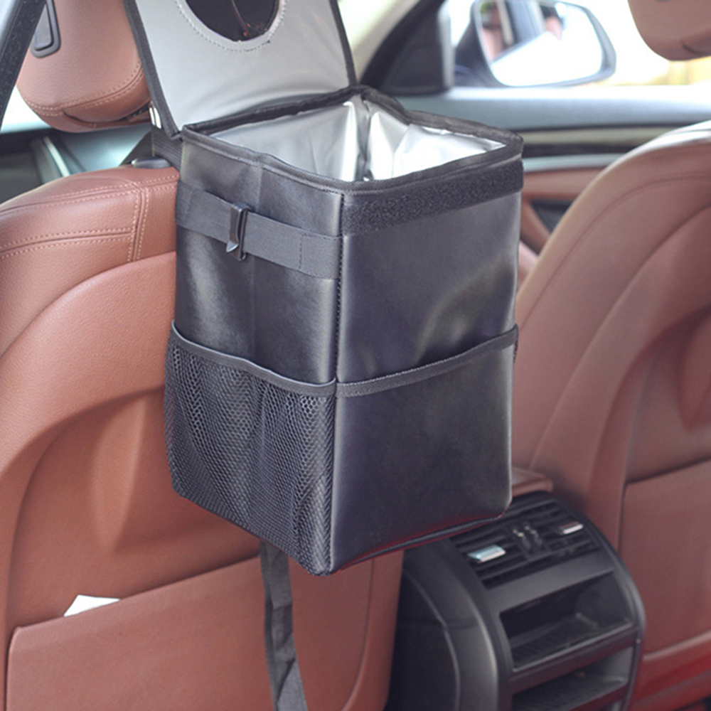 AOZBZ Portable Car Rubbish Bin Oxford With Lid And Side Pockets Leakproof Waterproof Car Trash Bag for Car SUV Truck Car Trash     - title=