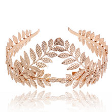 korea hair bow Women Headband Goddess Leaf Flower Hair Crown Head Piece Gold Band Bridal hair accessories gumki do wlosow(China)