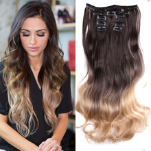 Belle Show Ombre Brown Long Straight 12 Clip In Hair Extensions High Temperature Fiber Natural Wavy Fake False Hair Piece Women