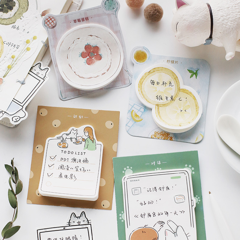 30sheets/pad My Cute Cat Roommate Memo Pad Planner Sticky Notes Paper Sticker Notepad Kawaii Stationery Office School Supplies