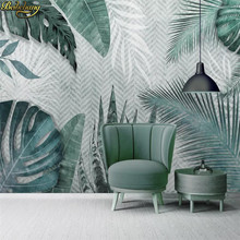 beibehang Custom wallpaper mural Nordic minimalist hand-painted tropical leaves small fresh bedroom wall 3d wallpaper(China)