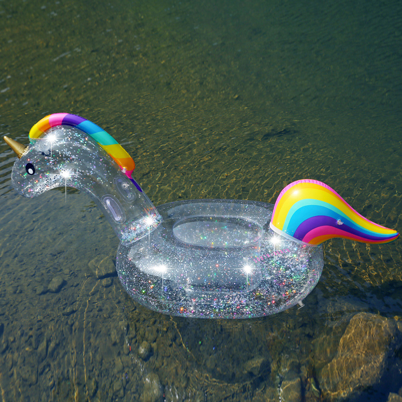 Transparent Sequins Unicorn Floating Row Pegasus Mount Swimming Ring Adult Children Water Inflatable Toy