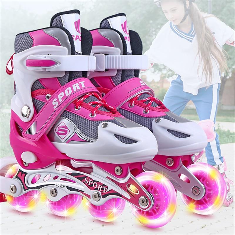 Outdoor Sports Skates Roller Inline Adjustable Children Tracer For Kids Boys Girls Blade Illuminating Wheels Roller Skates Shoes