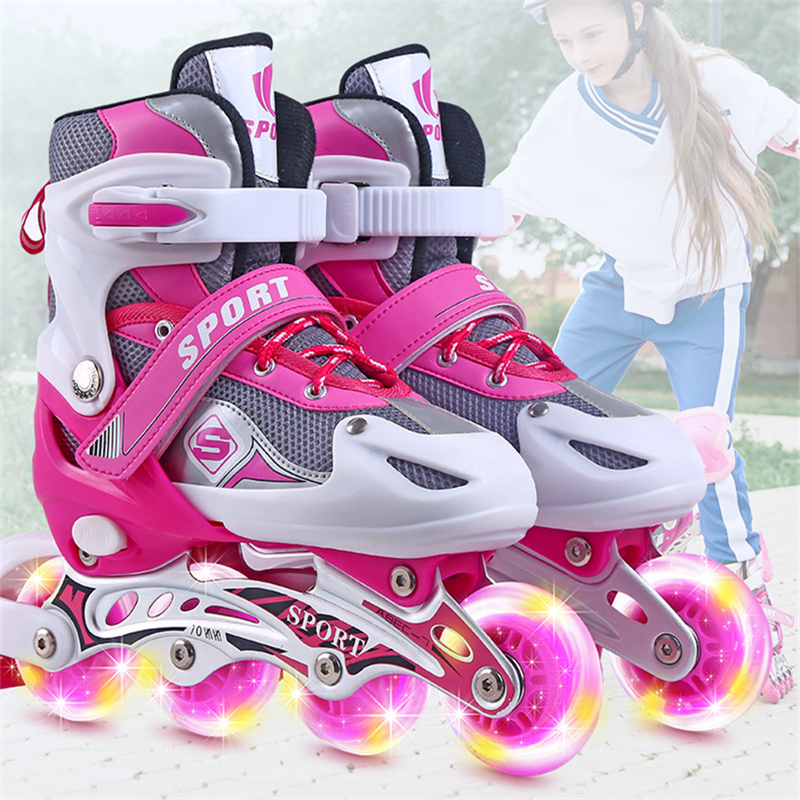Outdoor Sports Skates Rollerblades Inline Adjustable Children Tracer For Kids Boys Girls Illuminating Wheels Roller Skates Shoes